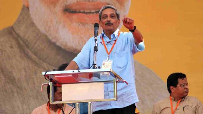 Panaji: Union Defense Minister Manohar Parrikar addresses during a public rally ahead of Goa Assembly elections in Panaji on Jan 28, 2017. (Photo: IANS)