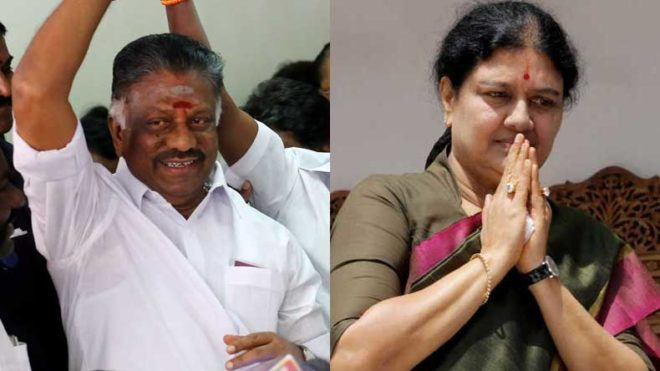 'Electricity pole' symbol for O. Panneerselvam camp and 'Hat' for Sasikala camp