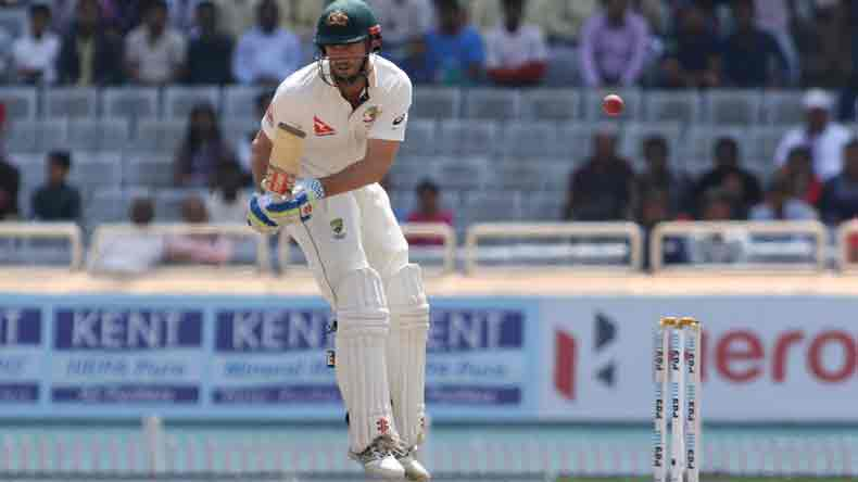 Ranchi: Australian batsman Shaun Marsh evades a delivery  during the fifth day of the third test cricket match against India in Ranchi on March 20, 2017. (Photo: Surjeet Yadav/IANS)
