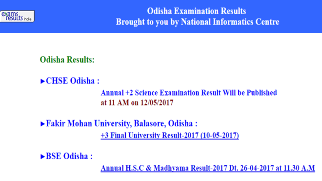 Odisha CHSE plus two science results 2017 declared @ orissaresults.nic.in