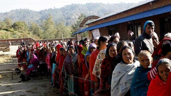 Nepalis cast their vote in local elections