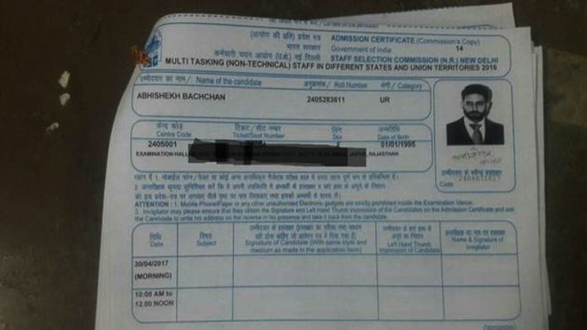 Actor Abhishek Bachchan's photo appears on SSC MTS admit card