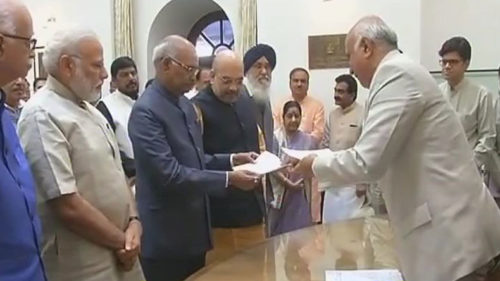 NDA's Presidential candidate Ram Nath Kovind files nomination in presence of PM Modi, Amit Shah