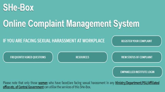 Govt launches Online portal SHe-Box for women to report sexual harassment at workplace