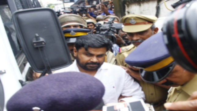 Kochi: Actor Dileep being taken to be produced before Judicial First Class Magistrate Court Angamaly in connection with the abduction and molestation of a popular actress in Kochi on July 14, 2017. (Photo: IANS)