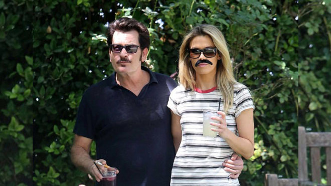 Charlie Sheen, girlfriend step out wearing matching moustaches