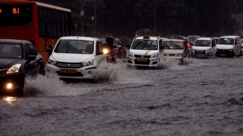 New Delhi: A view of waterlogged streets of New Delhi after heavy rains lashed national capital on Aug 7, 2017. (Photo: Bidesh Manna/IANS)