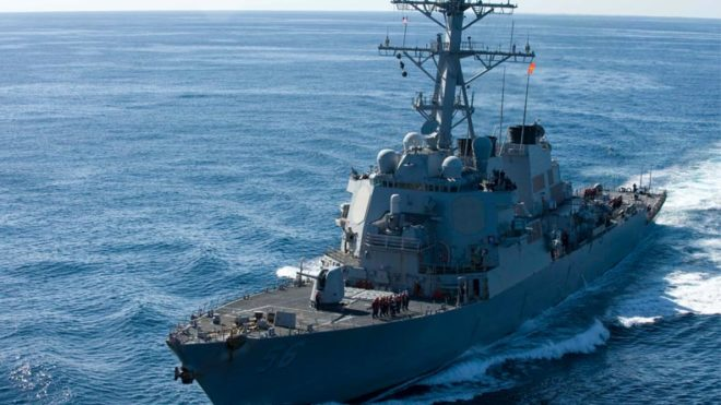 US destroyer collides with merchant ship near Strait of Malacca