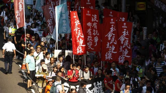 Protest in Hong Kong against jailing of pro-democracy leaders