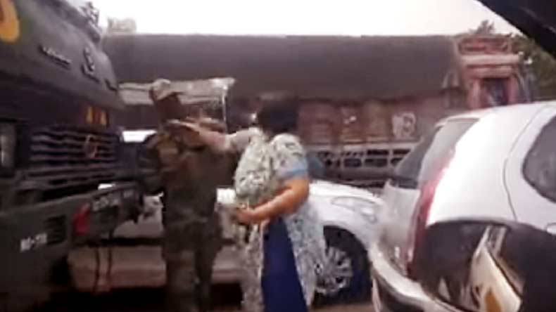Woman arrested after viral video shows her thrashing Armyman