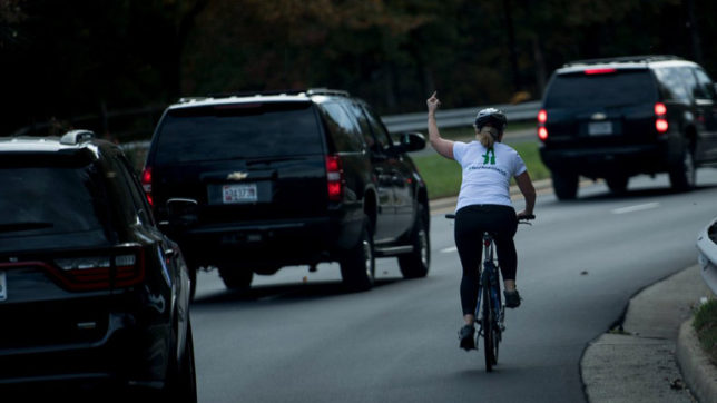 Trump gets middle-finger salute from cyclist