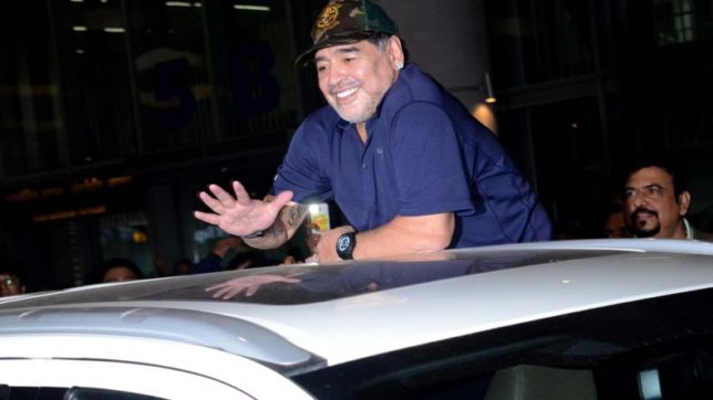 Argentine football legend Diego Maradona loses cool after car mobbed in Kolkata