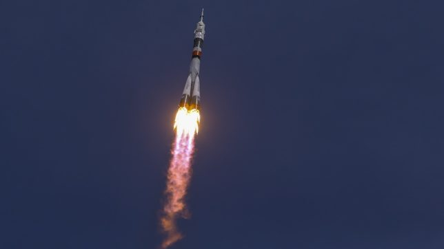 Russian spacecraft Soyuz carrying 3 astronauts leaves for International Space Station