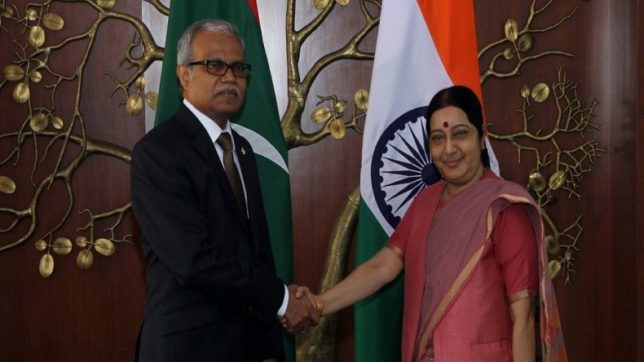 External Affairs Minister Sushma Swaraj, Maldives Mohamed Asim counterpart meet