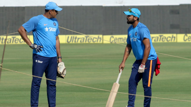 Hyderabad: Indian head coach Anil Kumble with Murali Vijay during a practice session ahead of the only test match against Bangladesh in Hyderabad on Feb 8, 2017. (Photo: Surjeet Yadav/IANS)