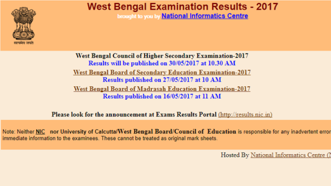 WBCHSE Result 2017: WBBSE HS 12th results 2017 to be declared on May 30 at 10.30am