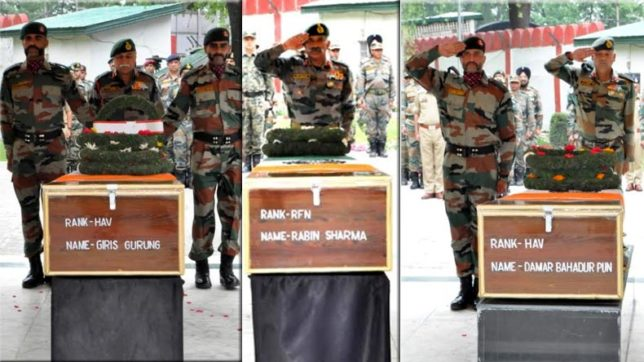 Army pays tribute to 3 soldiers killed in counter-insurgency operation in Naugam sector