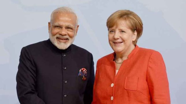 Hamburg: Prime Minister Narendra Modi meets German Chancellor Dr. Angela Merkel on the sidelines of the 12th G-20 Summit in Hamburg, Germany on July 7, 2017. (Photo: IANS/PIB)