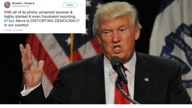 Fake news is distorting democracy in US, Trump slams media for defaming his son in the Russia case