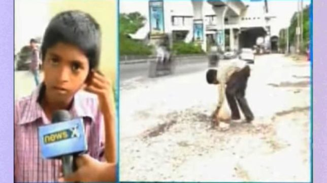 12-year-old fills potholes across Hyderabad; says doesn't want to see more people die