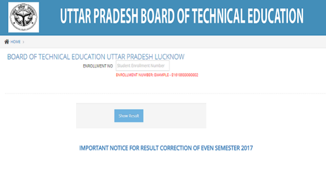 BTEUP Polytechnic Even Semester result 2017