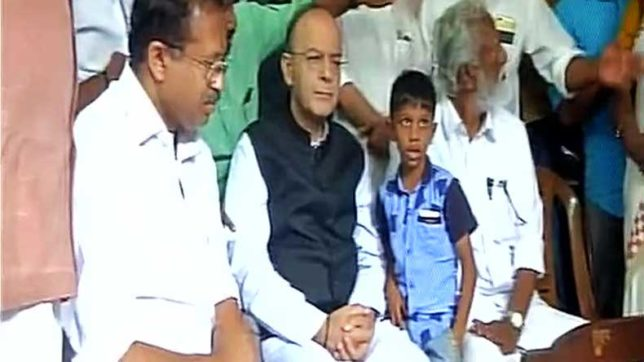Arun Jaitley in Kerala: finance minister meets deceased RSS worker's kin amid protests from CPI-M