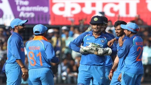 Indore: India's cricketers celebrate fall of a wicket during the third ODI cricket match between India and Australia at Holkar Cricket Stadium in Indore on Sept 24, 2017. (Photo: Surjeet Yadav/IANS)