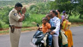 Andhra Pradesh cop pleads to man with folded hands to follow traffic rules
