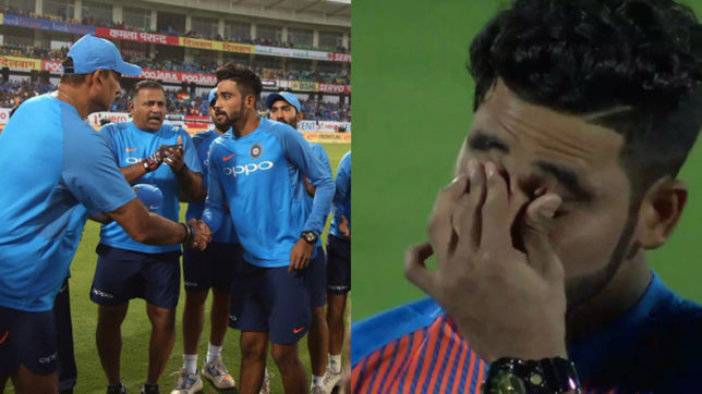 Mohammed Siraj in tears after national anthem as he makes his India debut against New Zealand