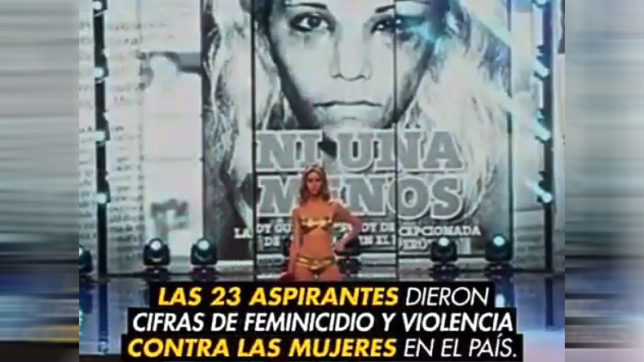Watch! Miss Peru contestants take stand against violence towards women