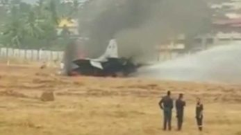 A MiG-29K aircraft caught fire after it skidded off the runway at Goa's Dabolim International Airport on Wednesday (Picture  tweeted by ANI)