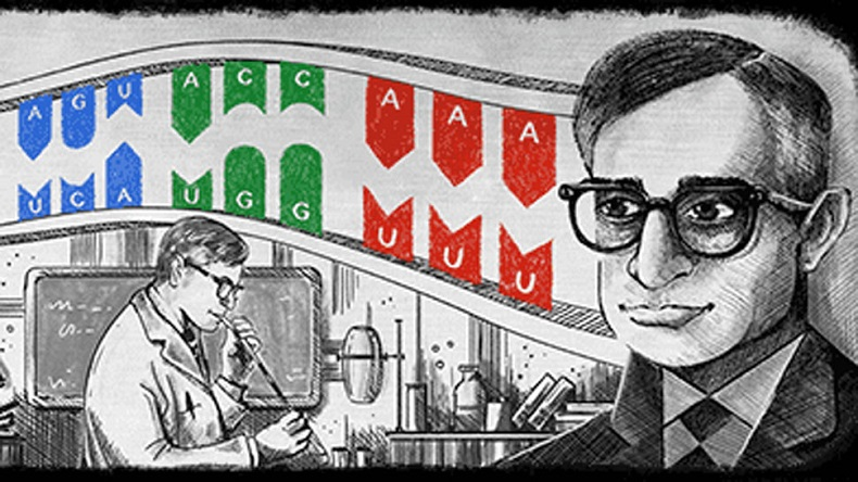 Google pays tribute Indian-american Noble Prize winner Har Gobind Khorana with doodle
