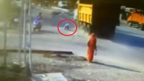 Gujarat shocker! Man miraculously escapes after getting hit by dumper truck in Godhra