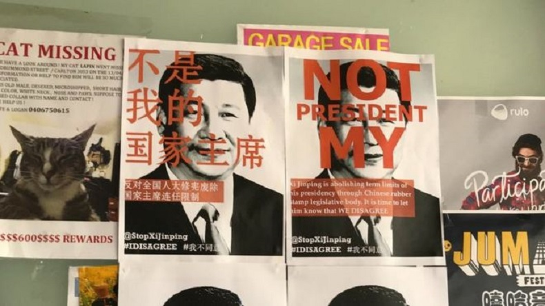 'Not my President' posters appear against Xi Jinping outside China after Parliament abolishes Presidential term limit