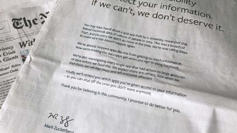 Facebook takes out full page ads in US, UK newspapers to apologise over data leaks