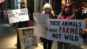 Oh deer! Canadian restaurant owner goes all-carnivore in front of vegan protesters