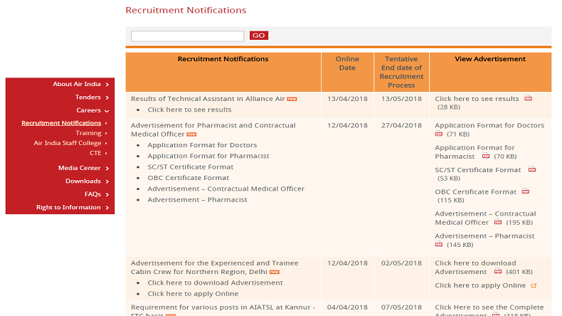Air India Recruitment 2018: Applicants can apply for cabin crew posts at www.airindia.in/careers.htm