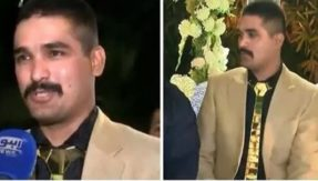 Next-level obsession! Pakistani groom wears gold outfit worth PKR 25 lakh on wedding reception