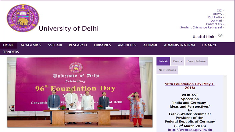 Delhi University, Delhi University Online Registration 2018, DU Admissions 2018, Delhi University Registration 2018, Bachelor of Business Administration (Financial Investment Analysis), Bachelor of Management Studies (BMS), BA (Hons) in Business Economics, Multimedia and Mass Communication, Humanities and Social Sciences and Music