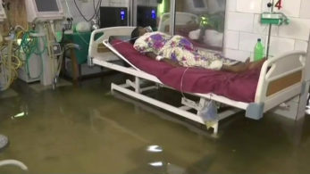 Bihar's Nalanda Medical College and Hospital in Patna was flooded with rainwater after a heavy downpour over the weekend.