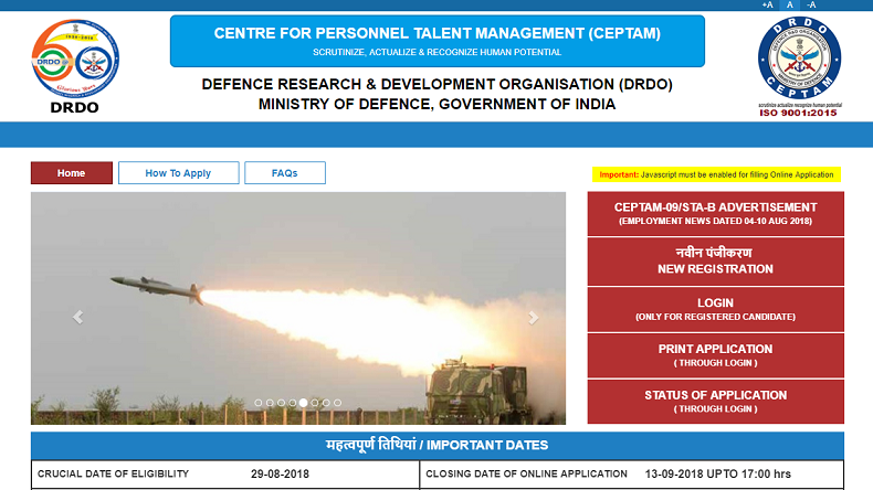 DRDO Recruitment 2018: Application submission for CEPTAM STA extended, check details @ drdo.gov.in