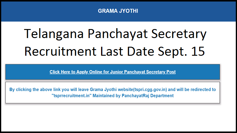 Telangana Panchayat Secretary 2018 Recruitment: Hurry! Last date for online applications to 9355 posts @ tspri.cgg.gov.in today, check details here