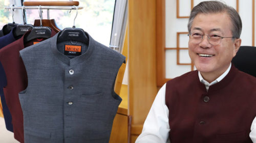 South Korean President Moon Jae-in calls Nehru jacket Modi vest sent by the PM, tweeple pitch in to correct him