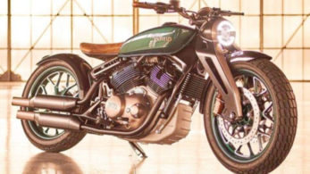 The Concept KX motorcycle houses a massive  838 cc air-and oil-cooled V-twin engine in its rigid chassis designed at the company's develeopment centres in India and the UK.