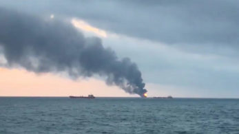 EU-Russia-Ship Fire, Black Sea, Russia, Eastern Europe, Europe, Kerch Strait, Business, General news, Commercial fires, Fires, Accidents and disasters, Maritime accidents, Transportation accidents