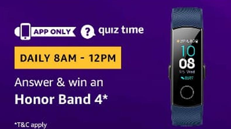 Amazon Quiz, Amazon Quiz today, Monday, March 19 2019, Amazon Quiz questions and answer, Honor Band 4 , Honor Band 4 features, Honor Band 4 price