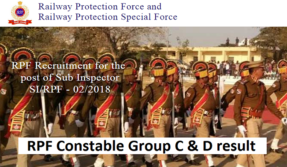 RPF Constable Group C, D result 2019