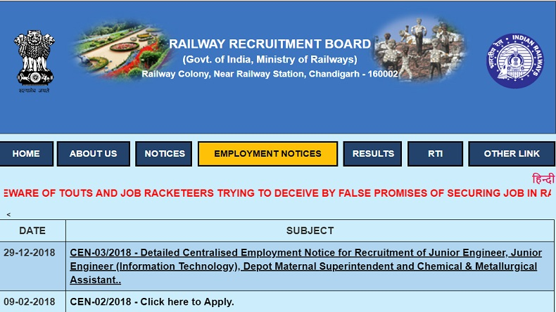 Railway recruitment 2019, rrb 2019, www.rrbcdg.gov.in, rrb official website