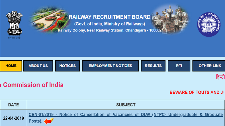 RRB NTPC Recruitment 2019: Why RRB cancelled 69 vacancies under DLW, check steps to change Post Preference