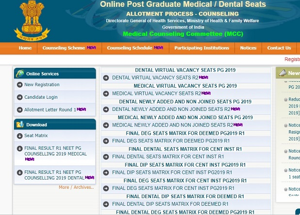 NEET PG Counselling 2019 allotment matrix for round 2 released @ mcc.nic.in, check details